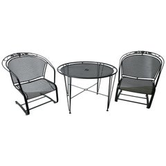 Set of 3 Mid-Century Modern Russell Woodard Table and Two Rocker Armchairs