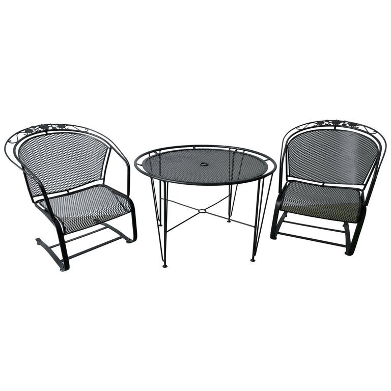 S/3 Mid Century Modern Russell Woodard Newly Painted Table & 2 Rocker Armchairs For Sale