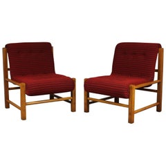 1960s Pair of Oak Easy Chairs, Czech Republic