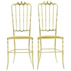 Pair of Brass Chairs by Chiavari Italy, 1960s