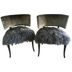 Midcentury Grosfeld House Chair in Velvet and Mongolian Yak