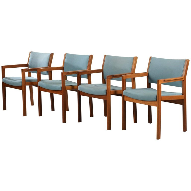 1970s Christian Hvidt Set of Four Armchairs in Mahogany by Soborg Mobelfabrik