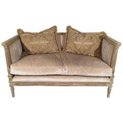 French Louis XVI Style Hand-Carved Wood Upholstered Loveseat