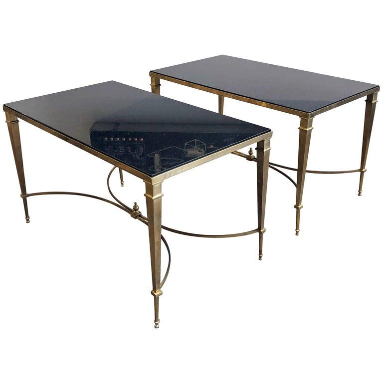 Pair of Granite and Brass Tables