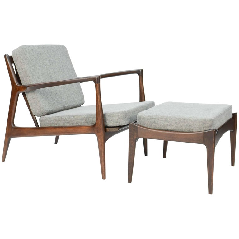 Ib Kofod- Larsen Club Chair and Ottoman for Selig of Denmark For Sale
