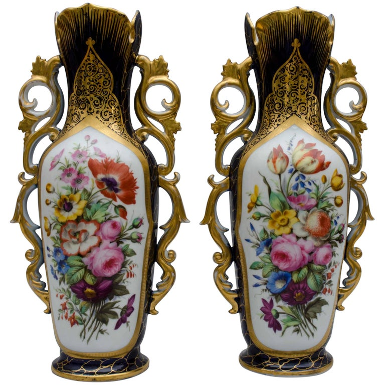 Mid-19th Century, Cobalt Bleu and Flowers, Porcelain Vases, Valentine, France