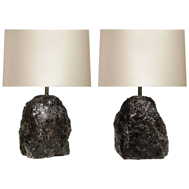 Pair of Natural Dark Rock Crystal Lamps