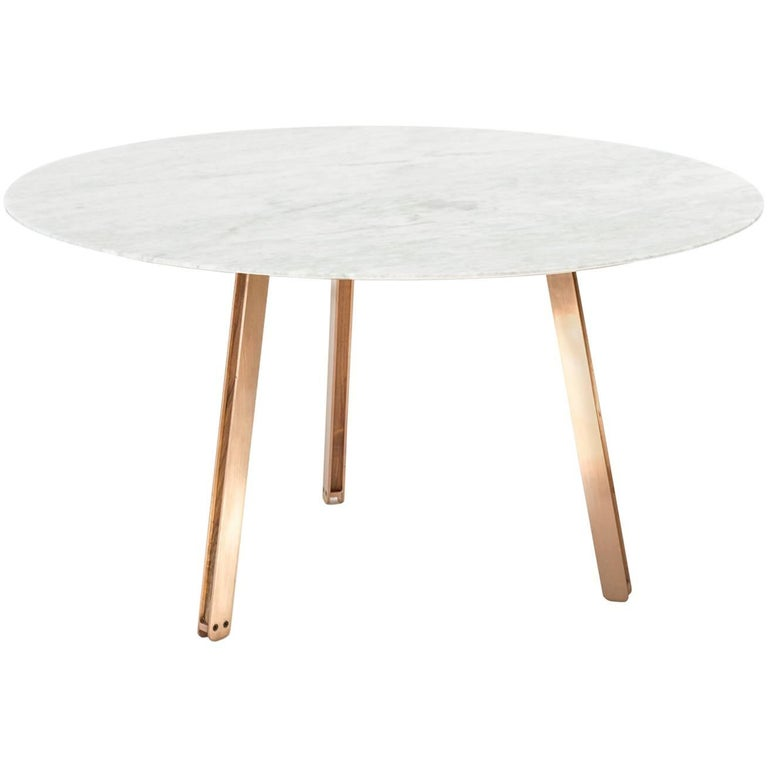 Contemporary Round Table, Carrara Marble & Copper-Plated Steel, Designed by LCMX