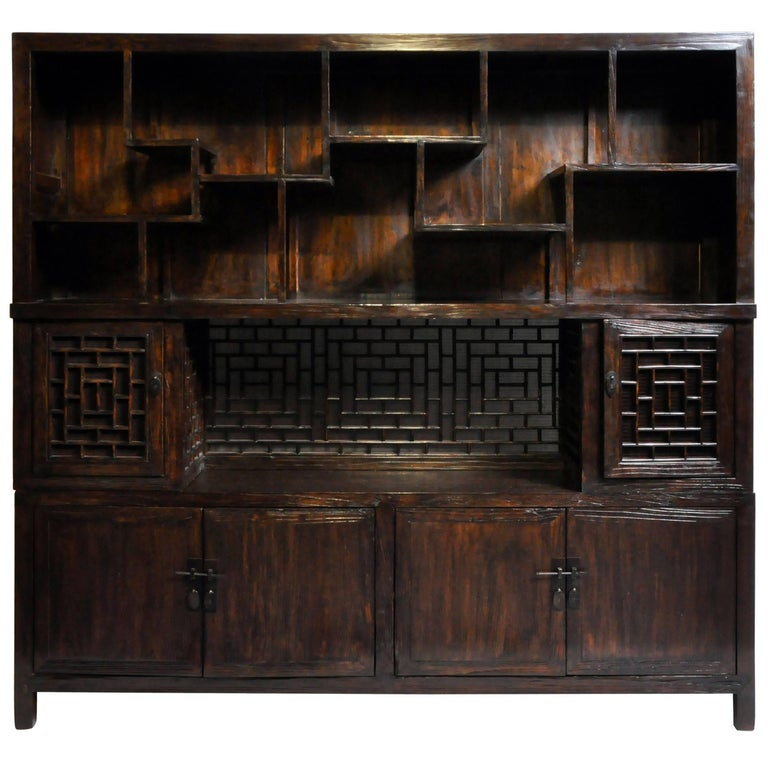 Chinese Lattice Display Cabinet