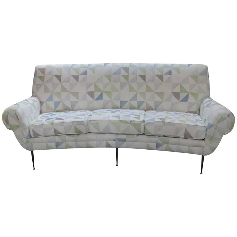 Italian Midcentury Curved Back Sofa