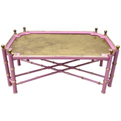 Vintage Chinese Chippendale Coffee Table in Pink and Gold