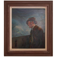 Midcentury Oil on Canvas Portrait of Jerry Bywater's Dallas Museum of Art