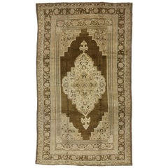 Vintage Turkish Oushak Rug with Warm Luxury Russian Home Style