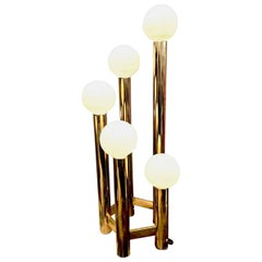 Large Five-Light Modern Brass Lamp