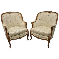 Pair of Oversized French Country Louis XV Style Bergère Armchairs Barrel Backs