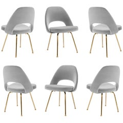 Saarinen Executive Armless Chairs in Dove Velvet, 24k Gold Edition, Set of Six
