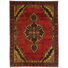 Vintage Turkish Oushak Rug with Traditional Victorian Style and Saturated Colors