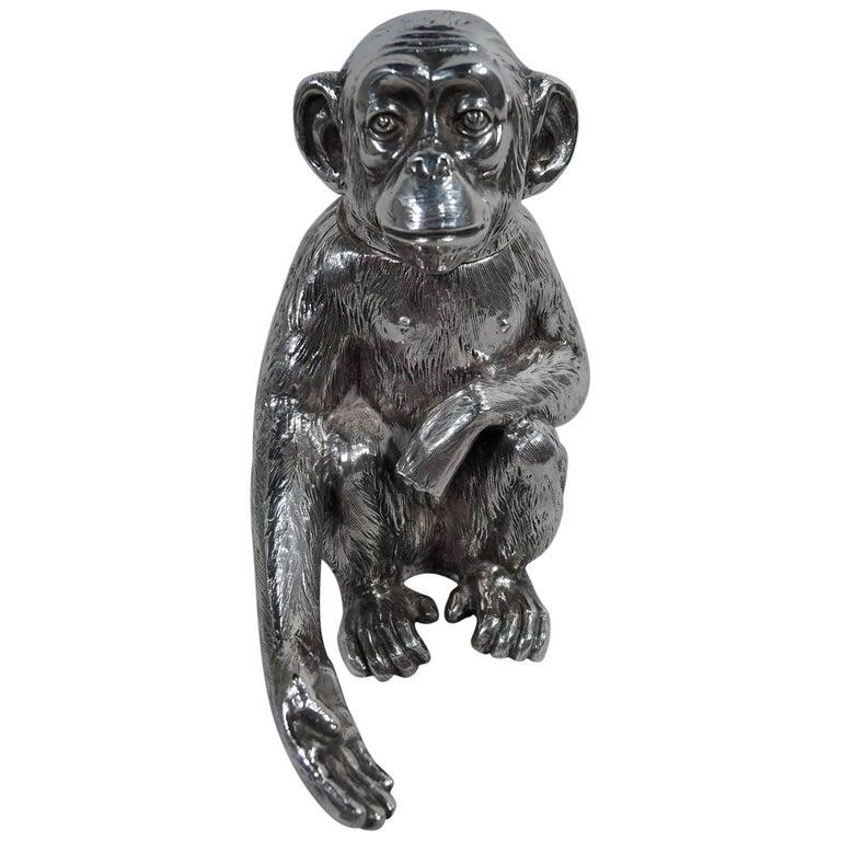 Antique German Silver Box in Form of Friendly Monkey