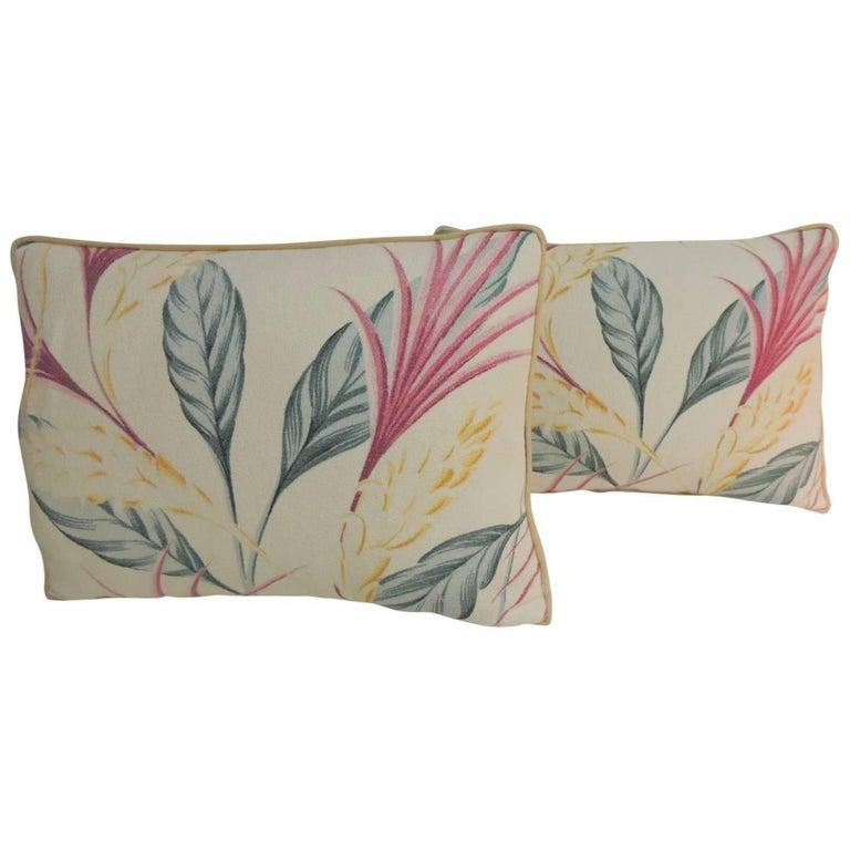 Pair of Vintage Florida Floral Bark Cloth Decorative Lumbar Pillows