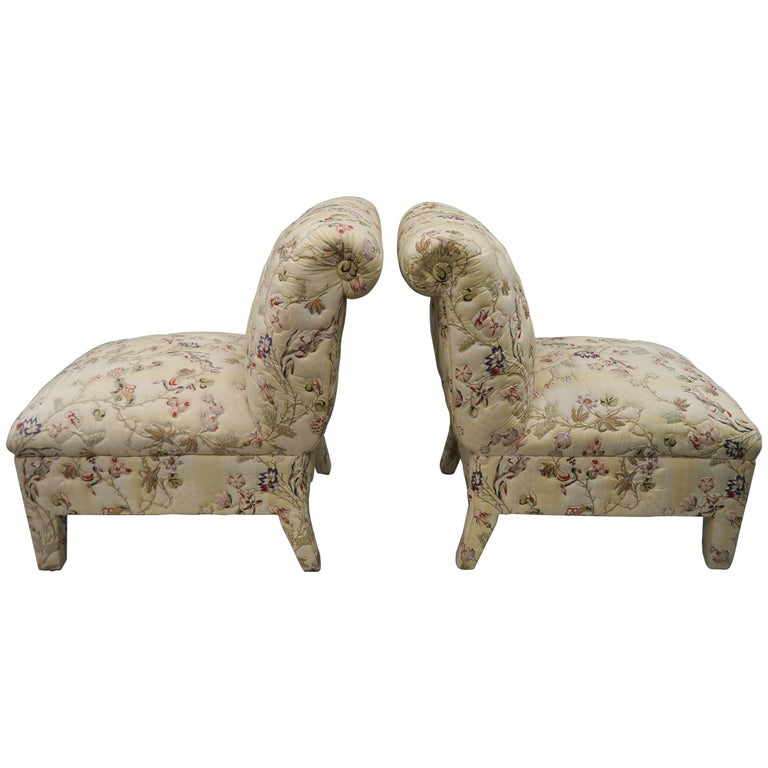 Pair of Fully Upholstered Slipper Lounge Chairs with Rolled Backs Chinoiserie