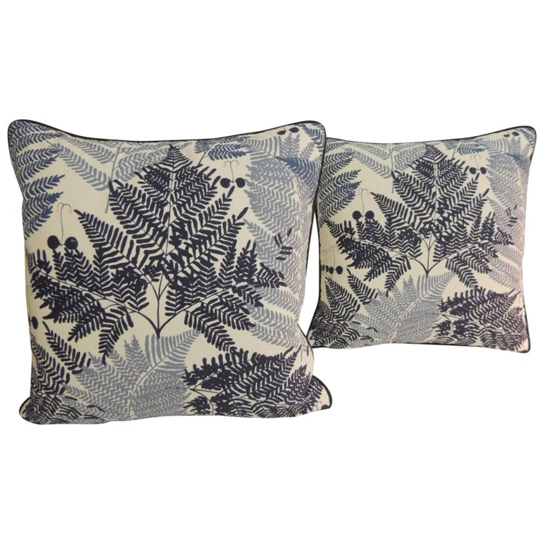 Pair of Blue and White Fern Fronds Decorative Pillows