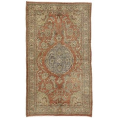 Vintage Turkish Oushak Rug with Romantic French Provincial Style