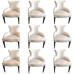 Art Deco Leather Dining Chairs, Set of Nine