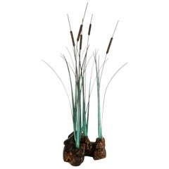 Midcentury Metal and Wood Cattail Sculpture by Max Howard