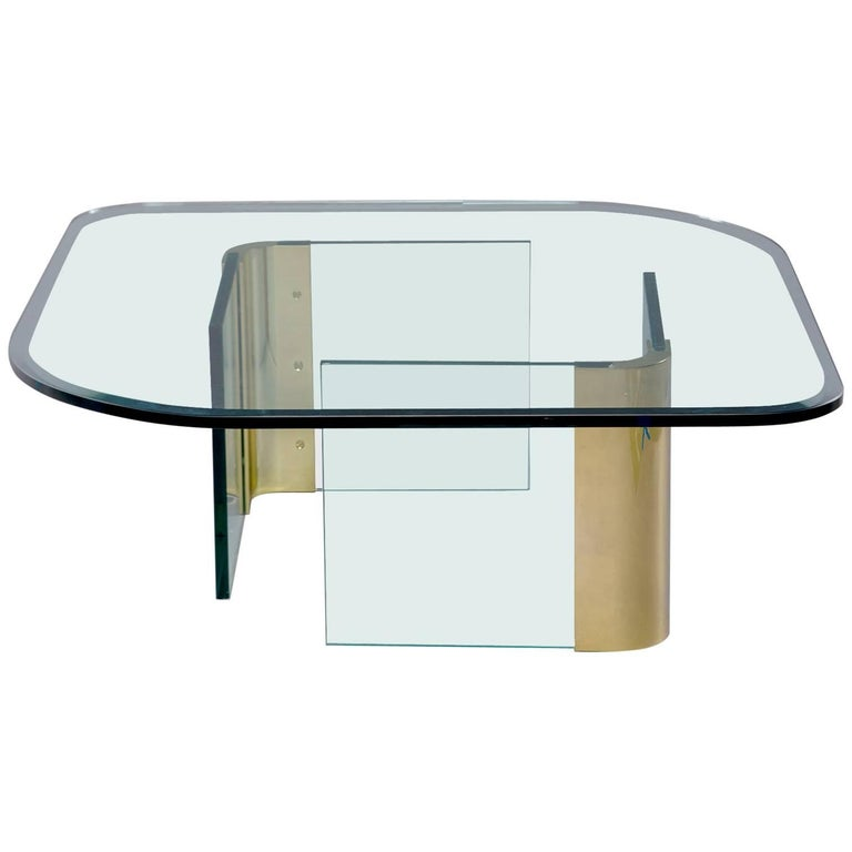 Midcentury Pace Brass and Glass Cocktail Table