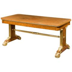 Regency Amboyna and Parcel-Gilt End Support Library Table