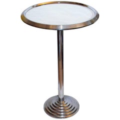 Antique French Art Deco Mirrored Chrome Cocktail Drinks Table