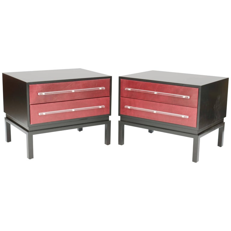 Wonderful and Handsome Pair of Monumental Night Stands after Paul Laszlo For Sale