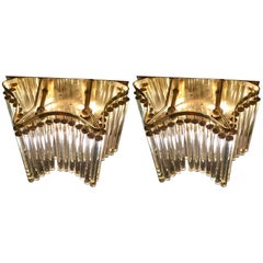 Pair of Midcentury Style Gilt Double Tier Wall Lights by Ernst Palme