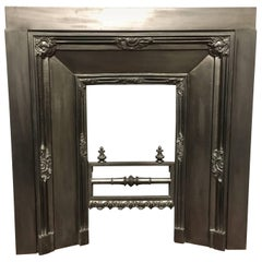 Antique 19th Century Victorian Cast Iron Insert Fireplace