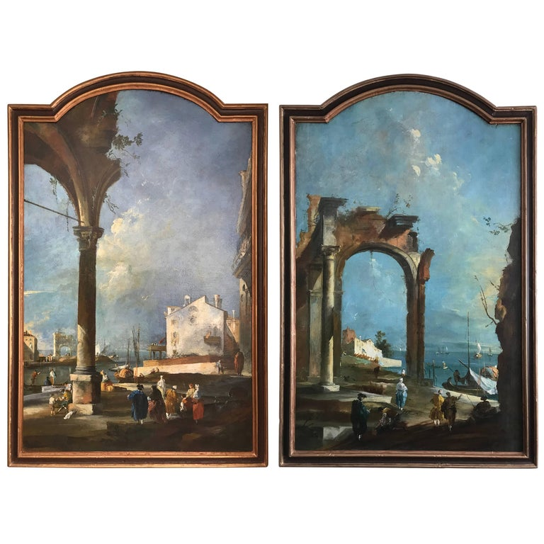 Pair of Italian Landscapes, Oil on Canvas