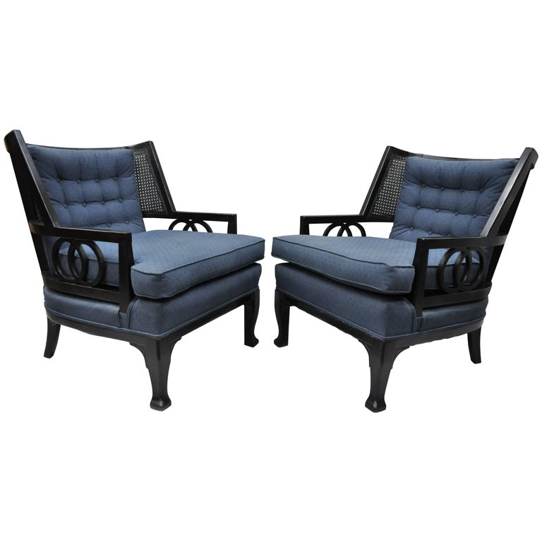 Pair of Black Hollywood Regency Lounge Chairs in the Baker Michael Taylor Style