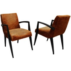 Pair of Fine French Art Deco Arm Chairs by Maxime Old