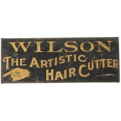 "Antique Hand Gold Leafed ""The Artistic Hair Cutter"" Sign"