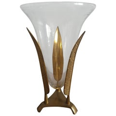 Napoleon III Style Leaves Gilt Bronze Vase, France