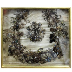 Circa 1860 Framed Victorian Hair Mourning Wreath