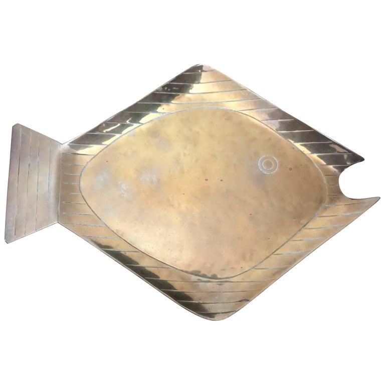Oswaldo Guayasamin Brass Fish Vide Poche Tray