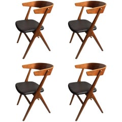 Helge Sibast, Rare Set of Four Chairs, Fully Refurbished