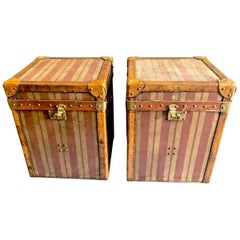Pair of French Canvas and Leather Hat Trunks, Late 19th Century