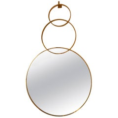 Contemporary Brass Mirror Three Circle. Italy