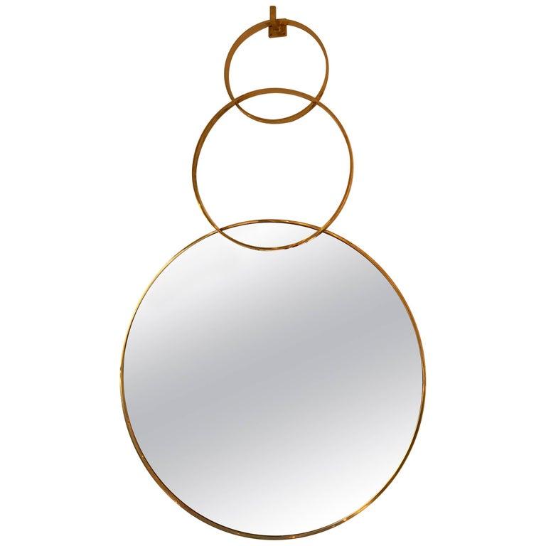 Contemporary Brass Mirror Three Circle. Italy