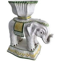 Italian Ceramic Elephant Cachepot Planter