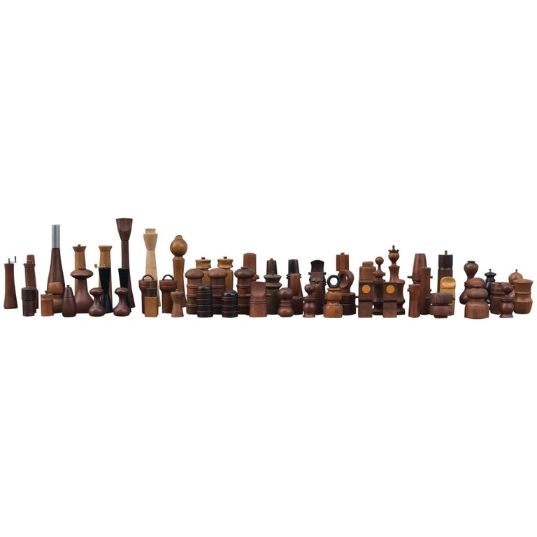 Collection of 62 Danish Peppermills and Others by Jen Quistgaard and Others For Sale