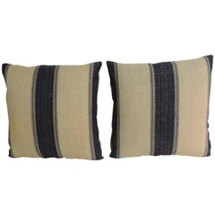 Pair of 19th Century French Dark Blue Stripes Decorative Pillows