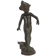 Violet, an Antique Gorham Founders Water Nymph Bronze Sculpture by Edward Berge