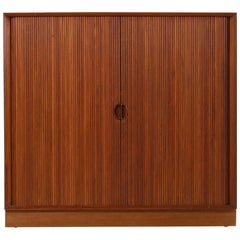 1960s Peter Hvidt Teak Cabinet with Tambour Doors Danish Modern Design Sideboard